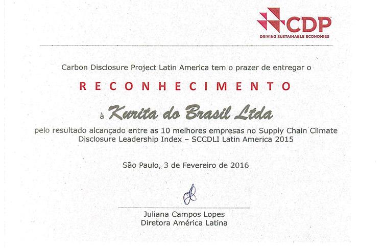 KURITA do Brasil é premiada pelas suas ótimas práticas ambientais